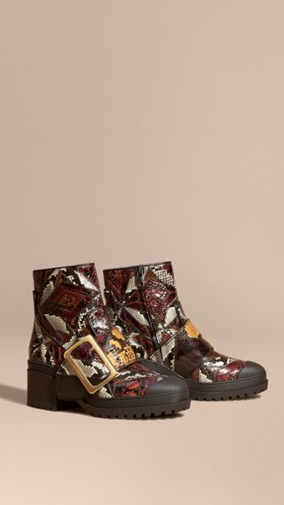 Bottines The Buckle en peau de serpent