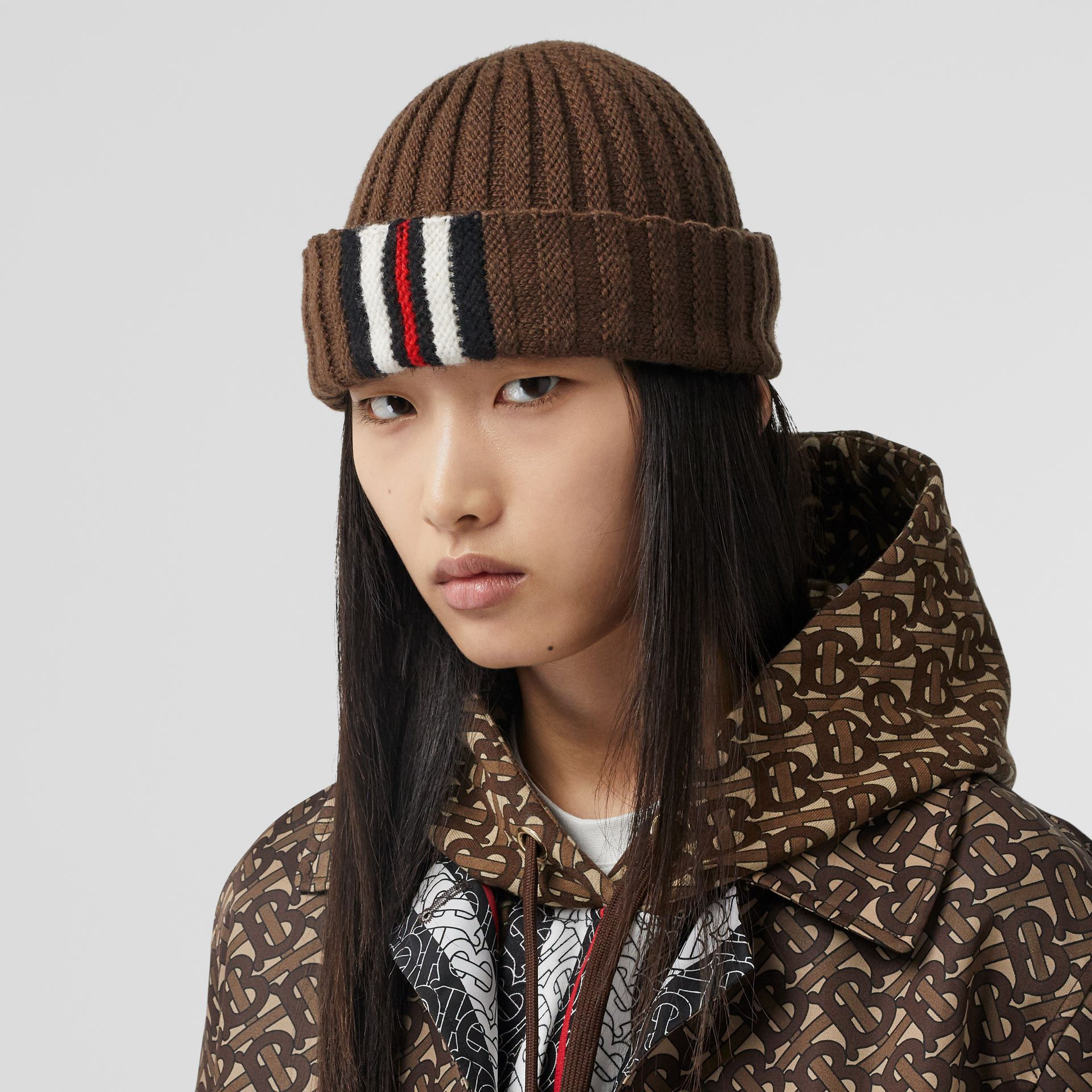 Stripe Detail Rib Knit Wool Beanie in Brown | Burberry - gallery image 2