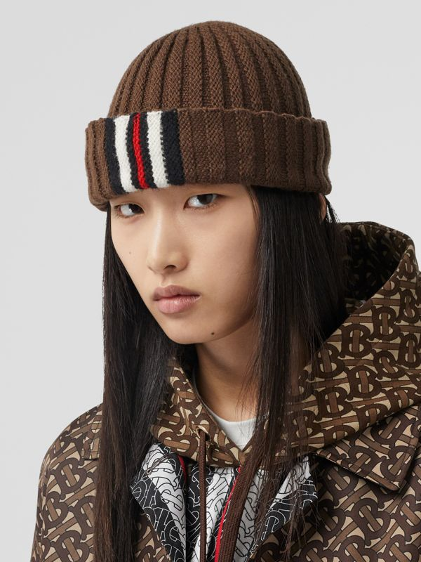Stripe Detail Rib Knit Wool Beanie in Brown | Burberry - cell image 2