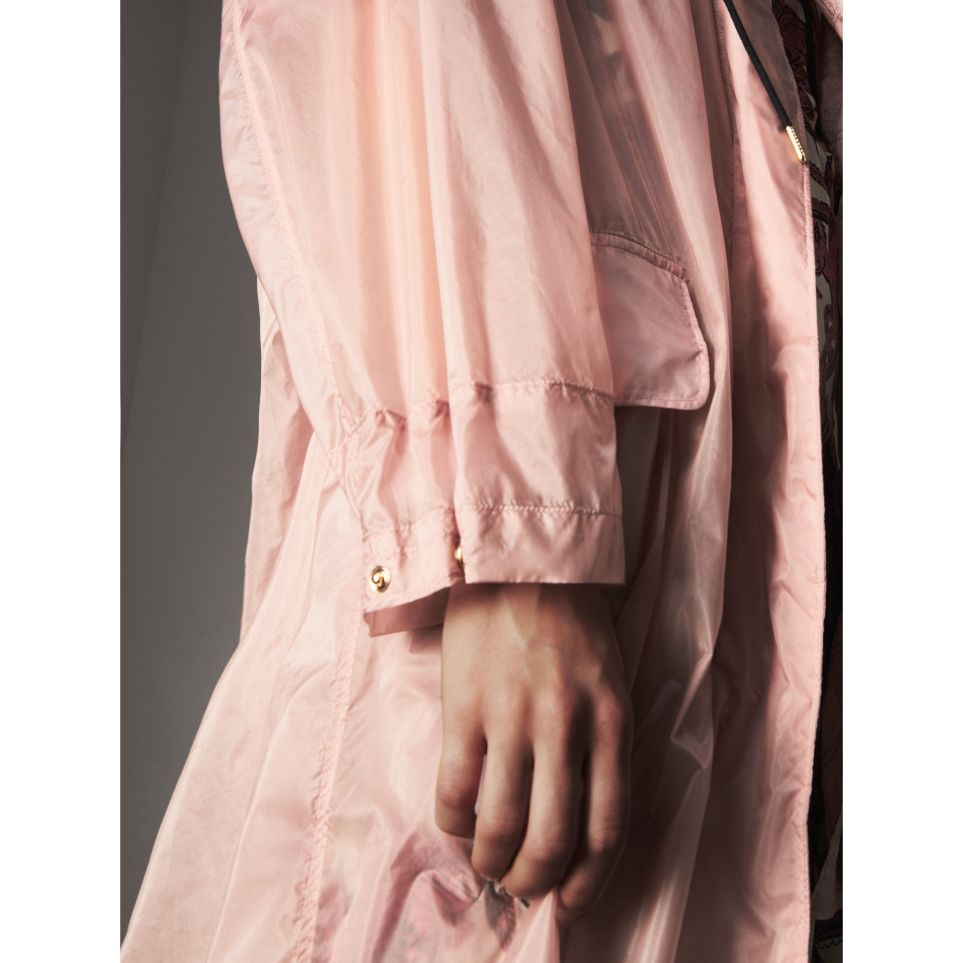 Hooded Lightweight Oversize Parka in Ash Rose - Women | Burberry - gallery image 6