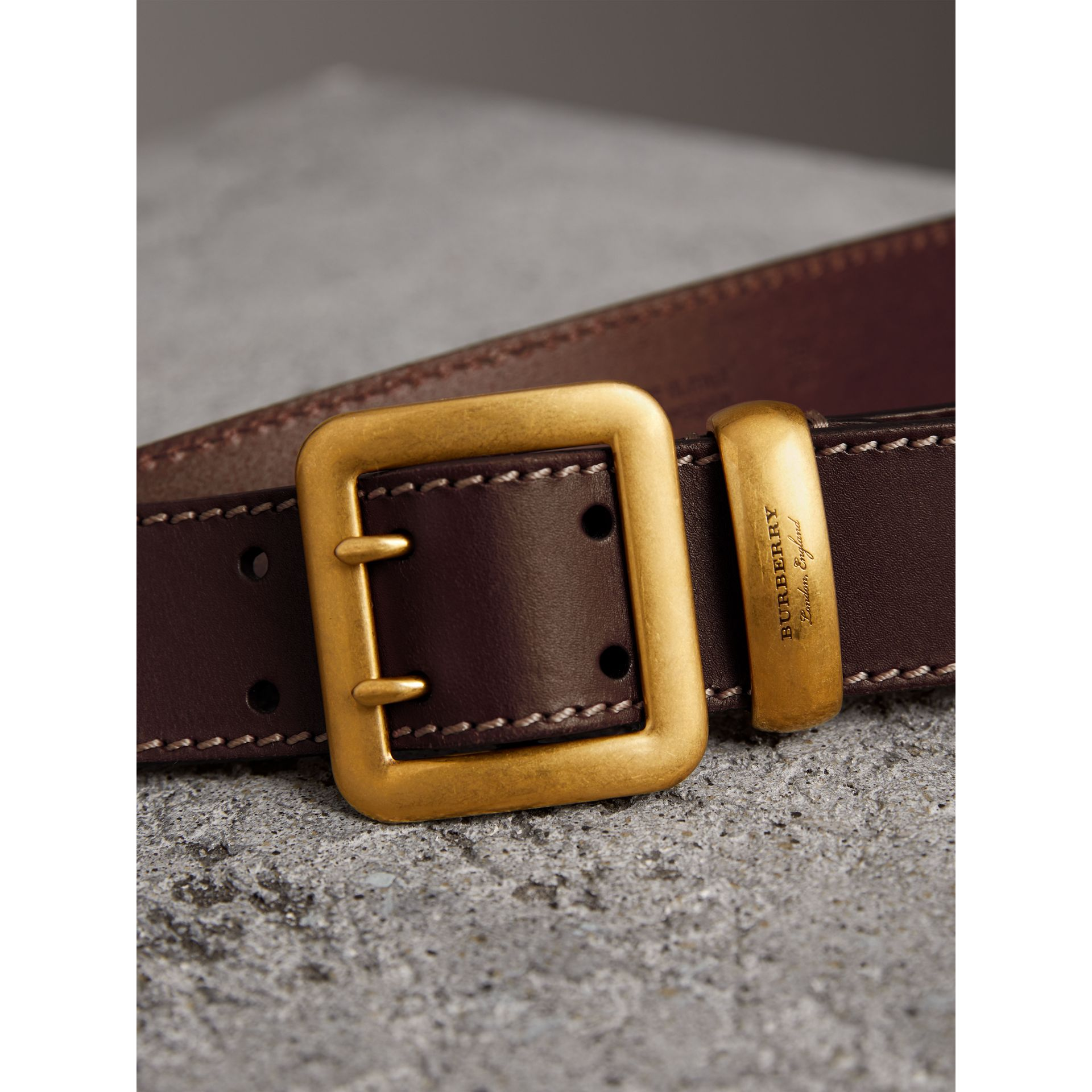 Double-pin Buckle Leather Belt in Auburn - Men | Burberry Singapore - gallery image 2