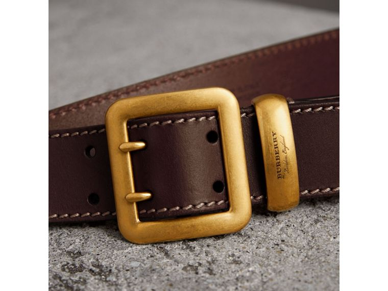 Double-pin Buckle Leather Belt in Auburn - Men | Burberry - cell image 1