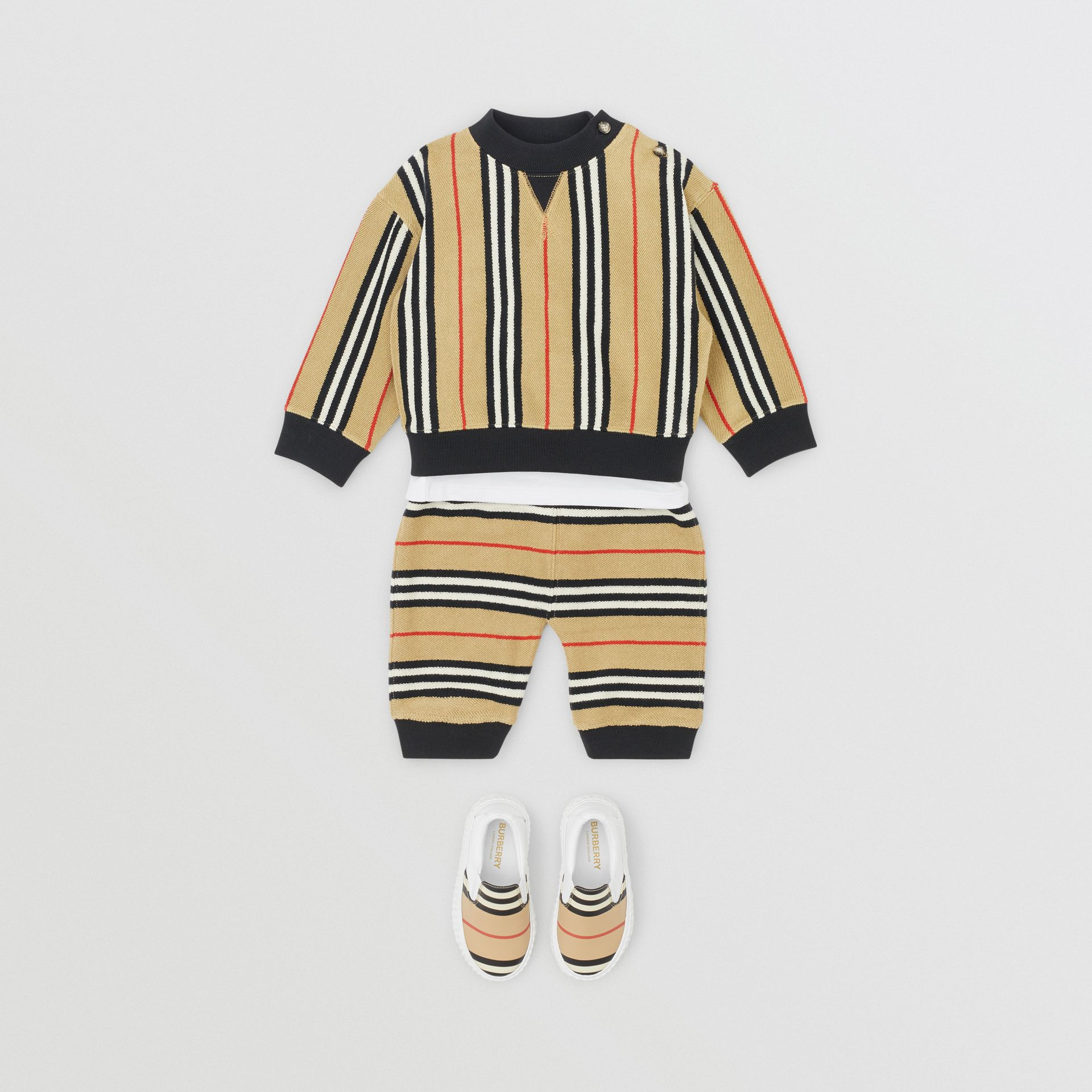 Icon Stripe Cotton Trackpants in Archive Beige - Children | Burberry United Kingdom - gallery image 2