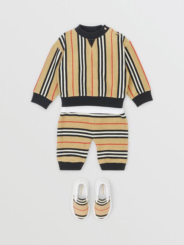 Icon Stripe Cotton Track Top in Archive Beige - Children | Burberry - cell image 2