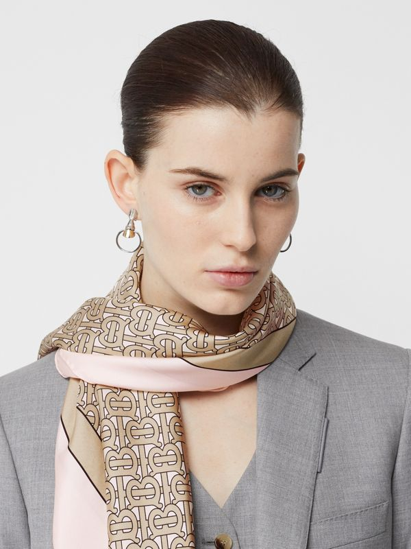 Monogram Print Silk Square Scarf in Pink | Burberry Australia - cell image 2