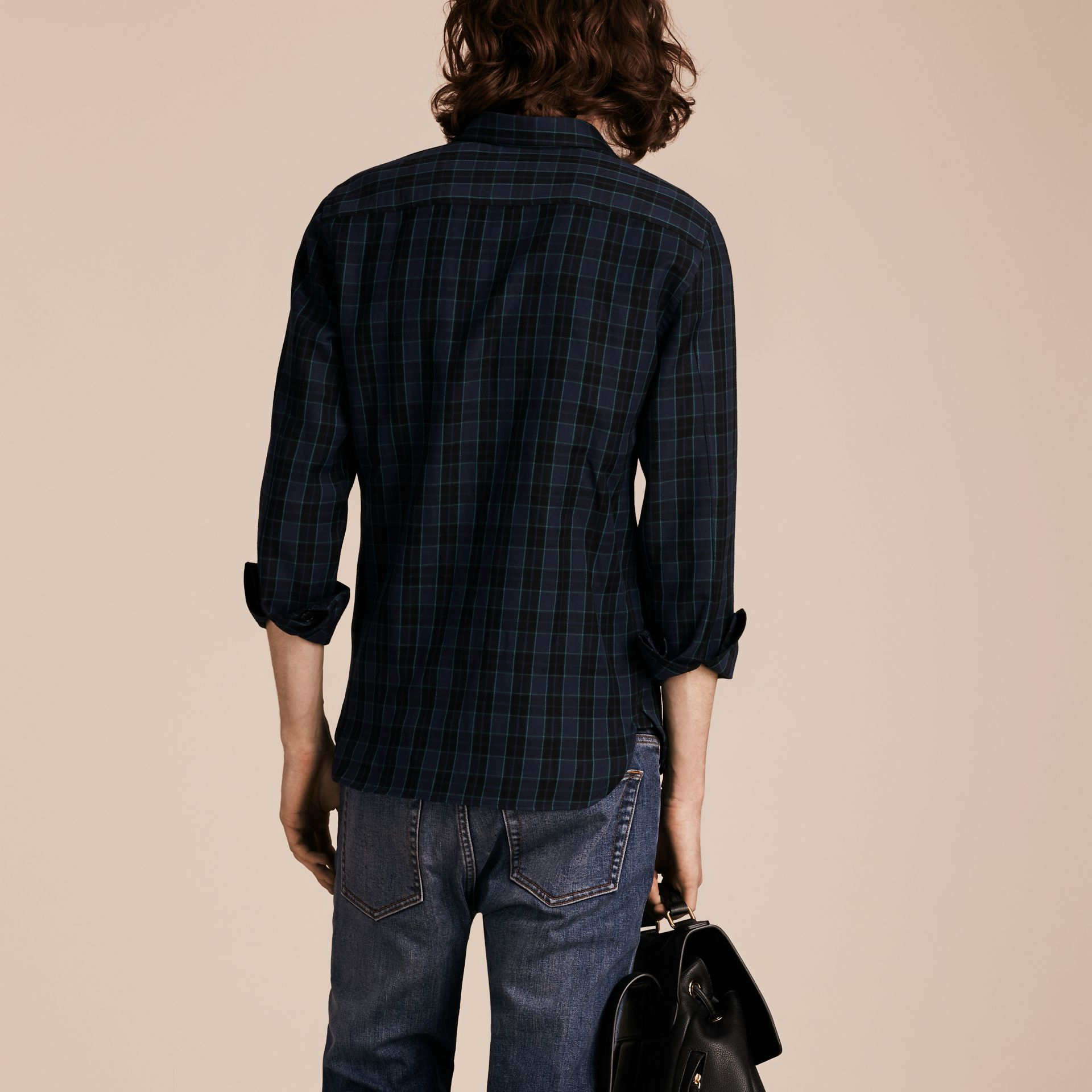 Bright navy Black Watch Check Wool Blend Shirt Bright Navy - gallery image 3