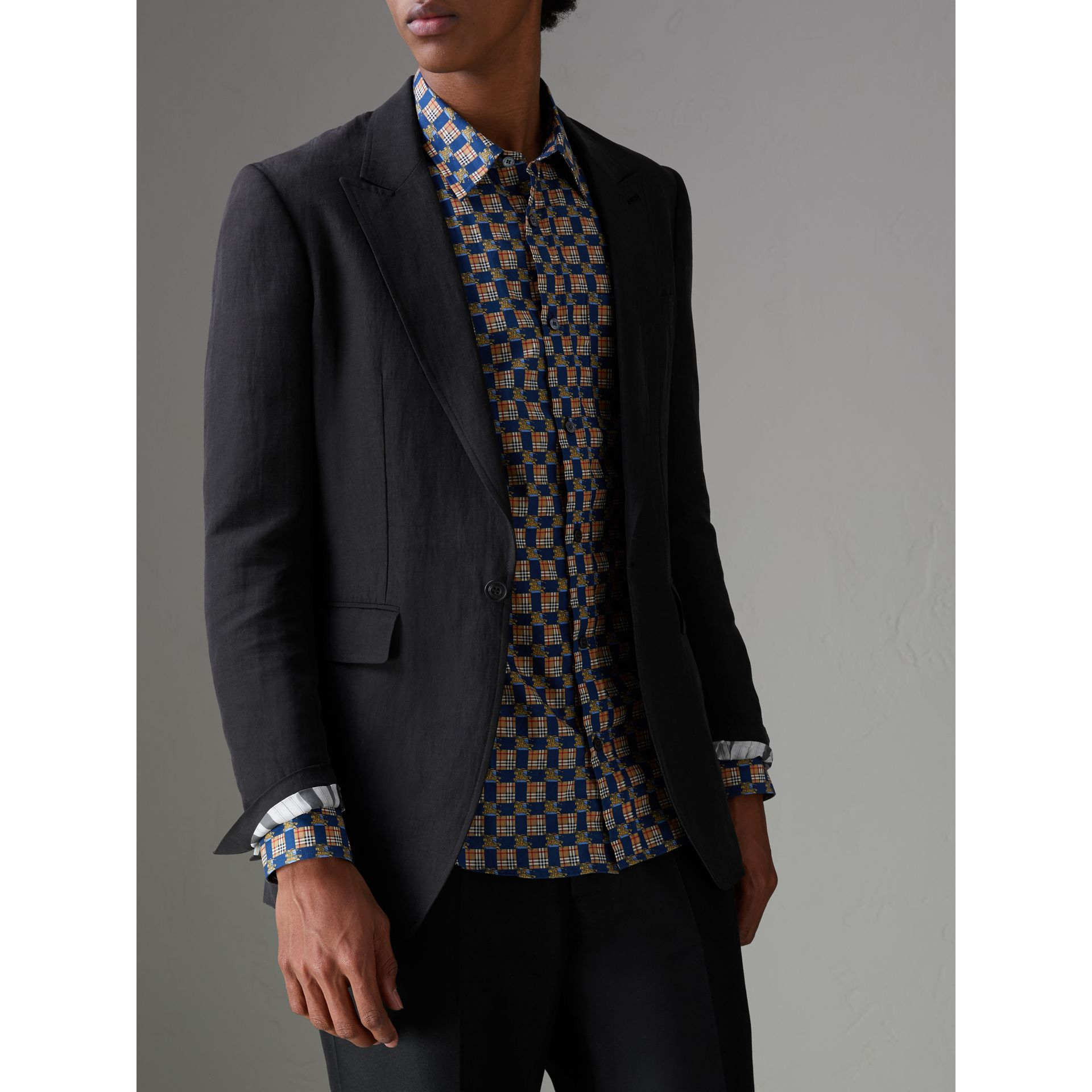 Slim Fit Linen Silk Evening Jacket in Black - Men | Burberry United States - gallery image 5
