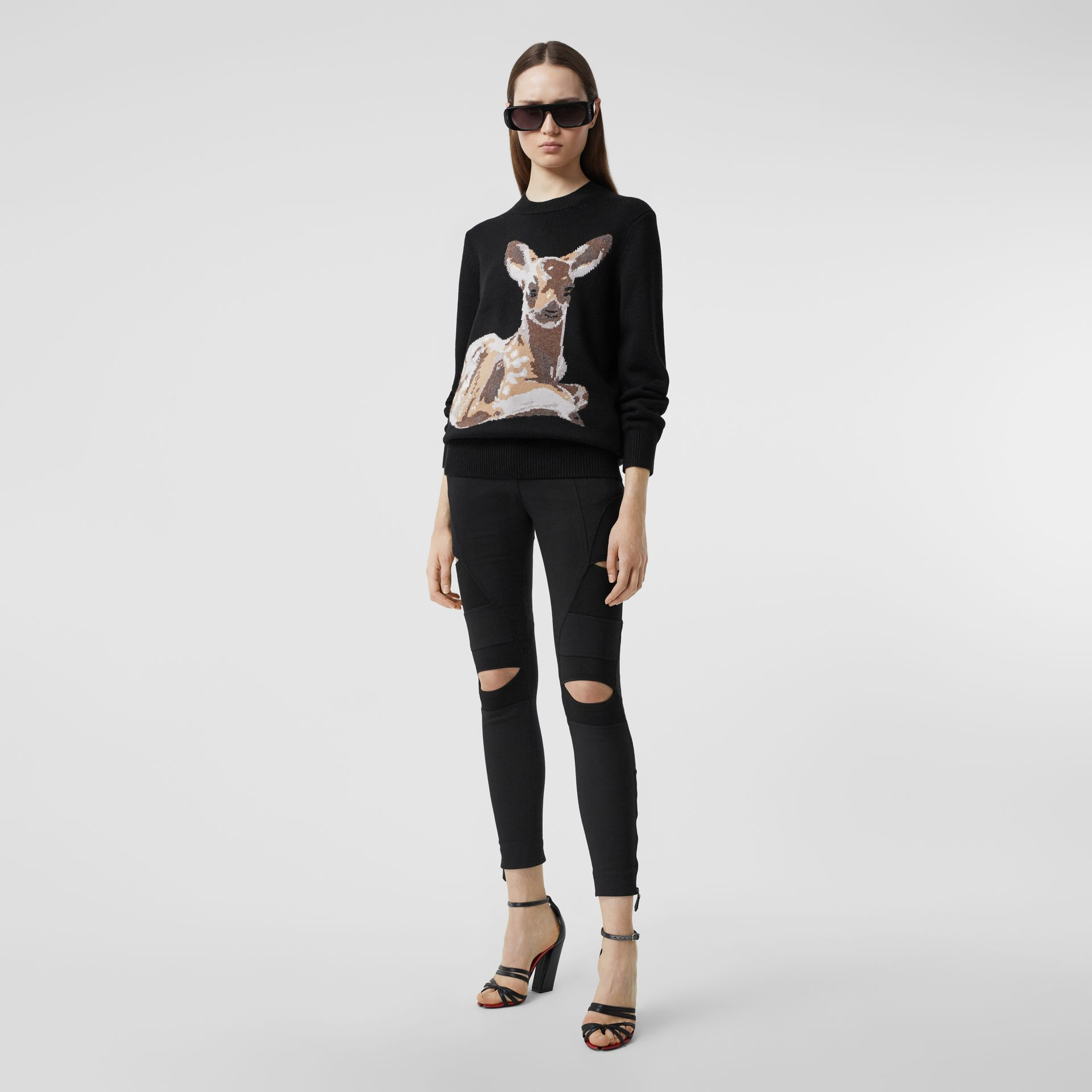 Deer Intarsia Wool Sweater in Black | Burberry - gallery image 4