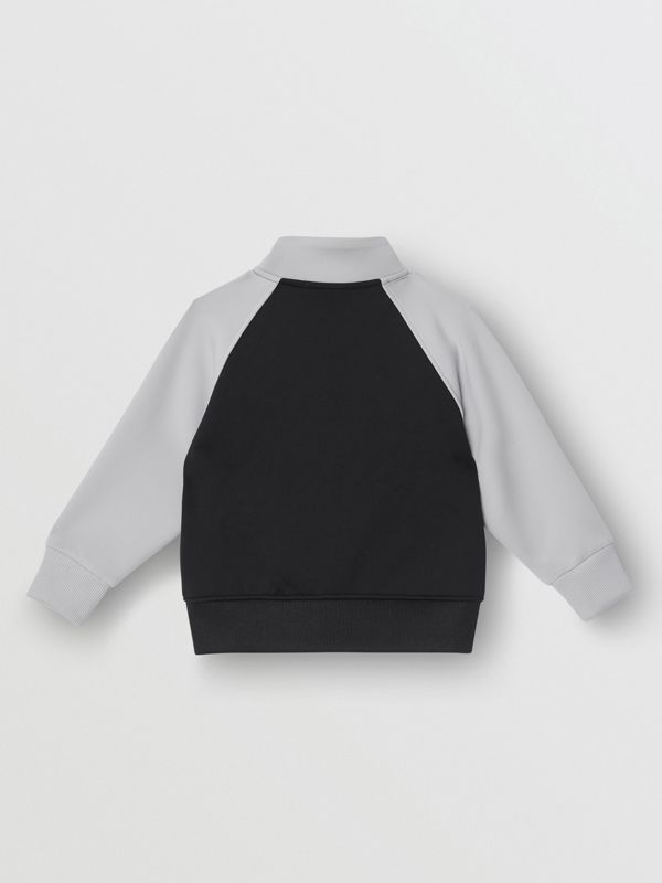 Logo Print Two-tone Stretch Jersey Track Top in Black - Children | Burberry - cell image 3