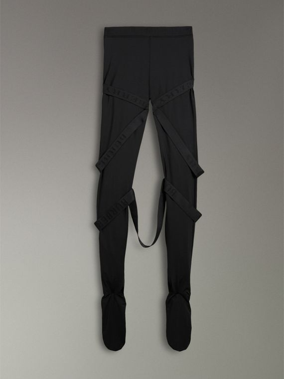 Strap Detail Stretch Jersey Leggings in Black - Women | Burberry - cell image 3