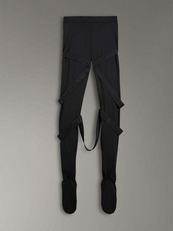 Strap Detail Stretch Jersey Leggings in Black - Women | Burberry Singapore - cell image 3