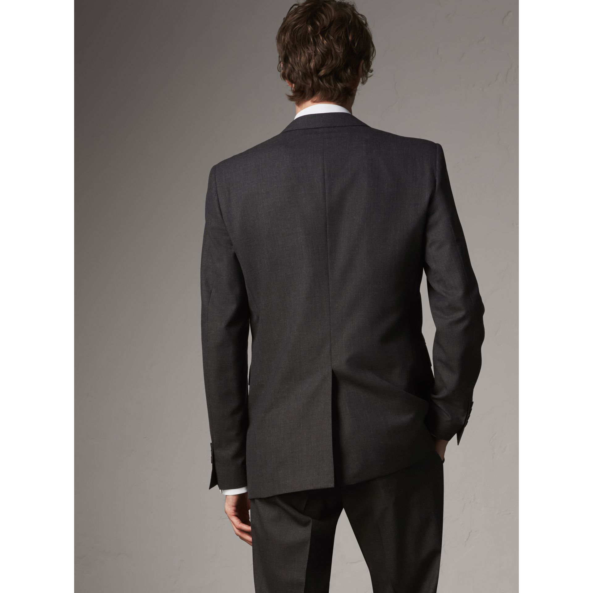 Modern Fit Wool Part-canvas Suit in Charcoal - Men | Burberry United Kingdom - gallery image 3