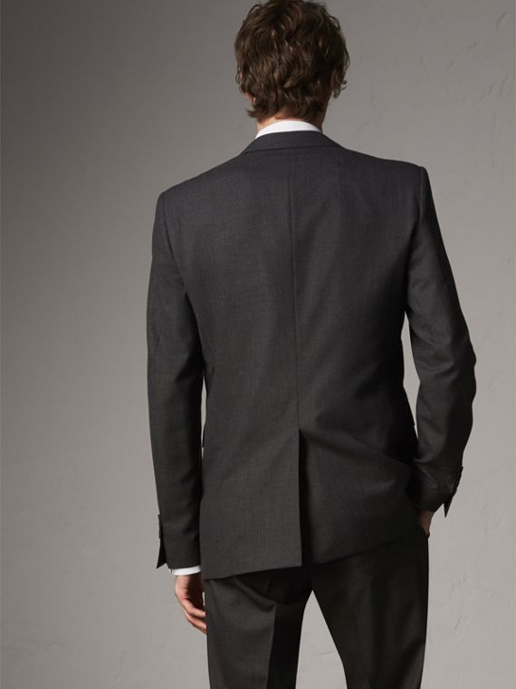 Modern Fit Wool Part-canvas Suit in Charcoal - Men | Burberry United Kingdom - cell image 2