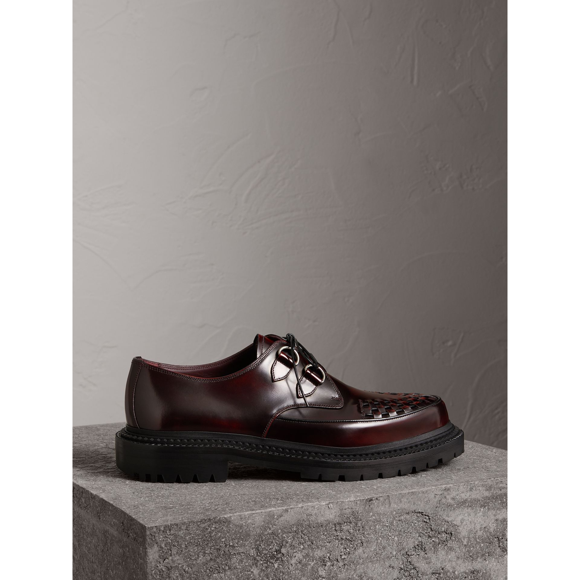 Woven-toe Leather Lace-up Shoes in Bordeaux - Men | Burberry - gallery image 4