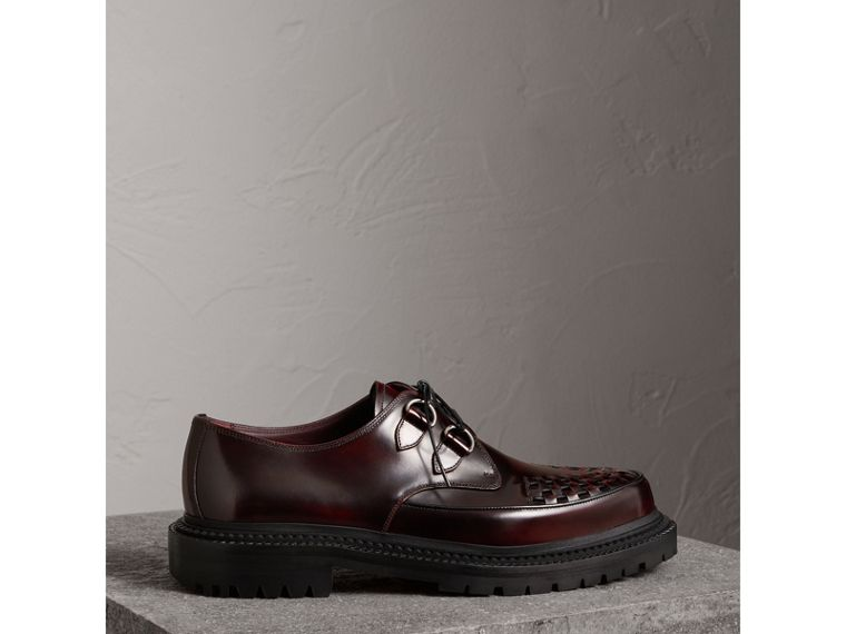 Woven-toe Leather Lace-up Shoes in Bordeaux - Men | Burberry United States - cell image 4