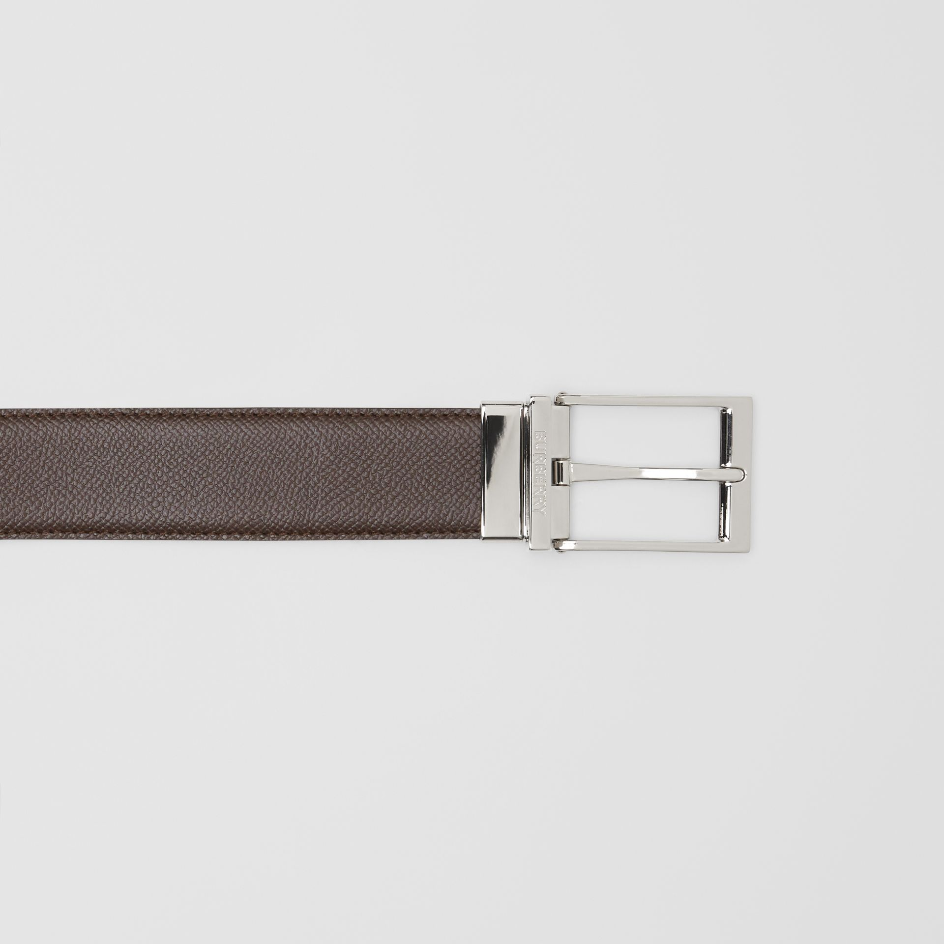 Reversible Grainy Leather Belt in Black/chocolate - Men | Burberry United Kingdom - gallery image 1