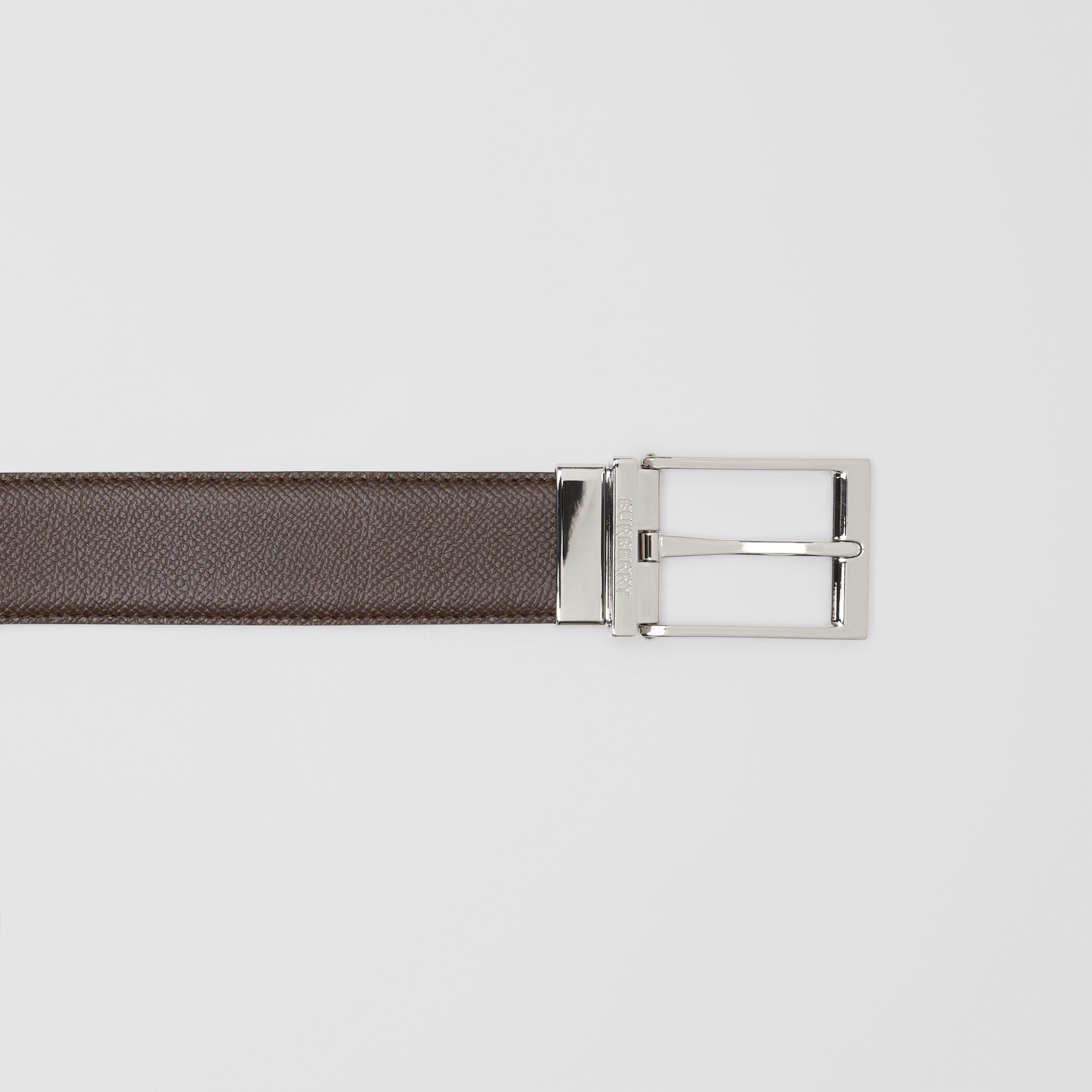 Reversible Grainy Leather Belt in Black/chocolate - Men | Burberry - 2