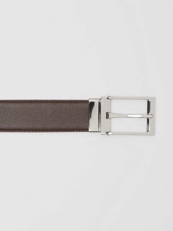 Reversible Grainy Leather Belt in Black/chocolate - Men   Burberry United States - cell image 1