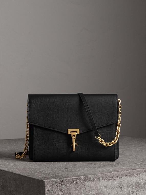 Petit sac à bandoulière en cuir (Noir)