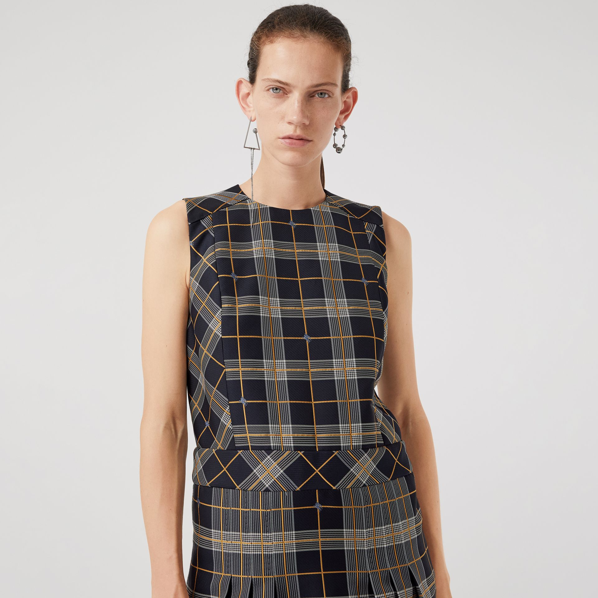 Sleeveless Pleat Detail Check Dress in Navy - Women | Burberry - gallery image 1