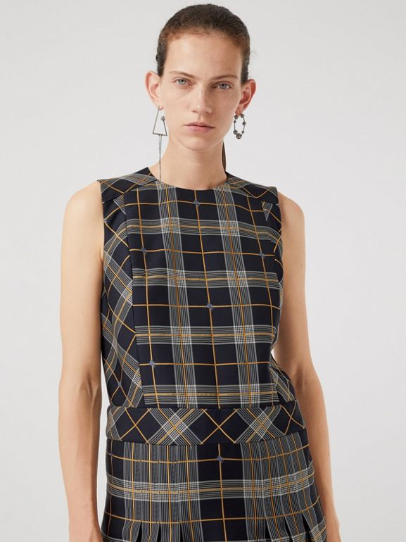 Sleeveless Pleat Detail Check Dress in Navy - Women | Burberry Canada - cell image 1