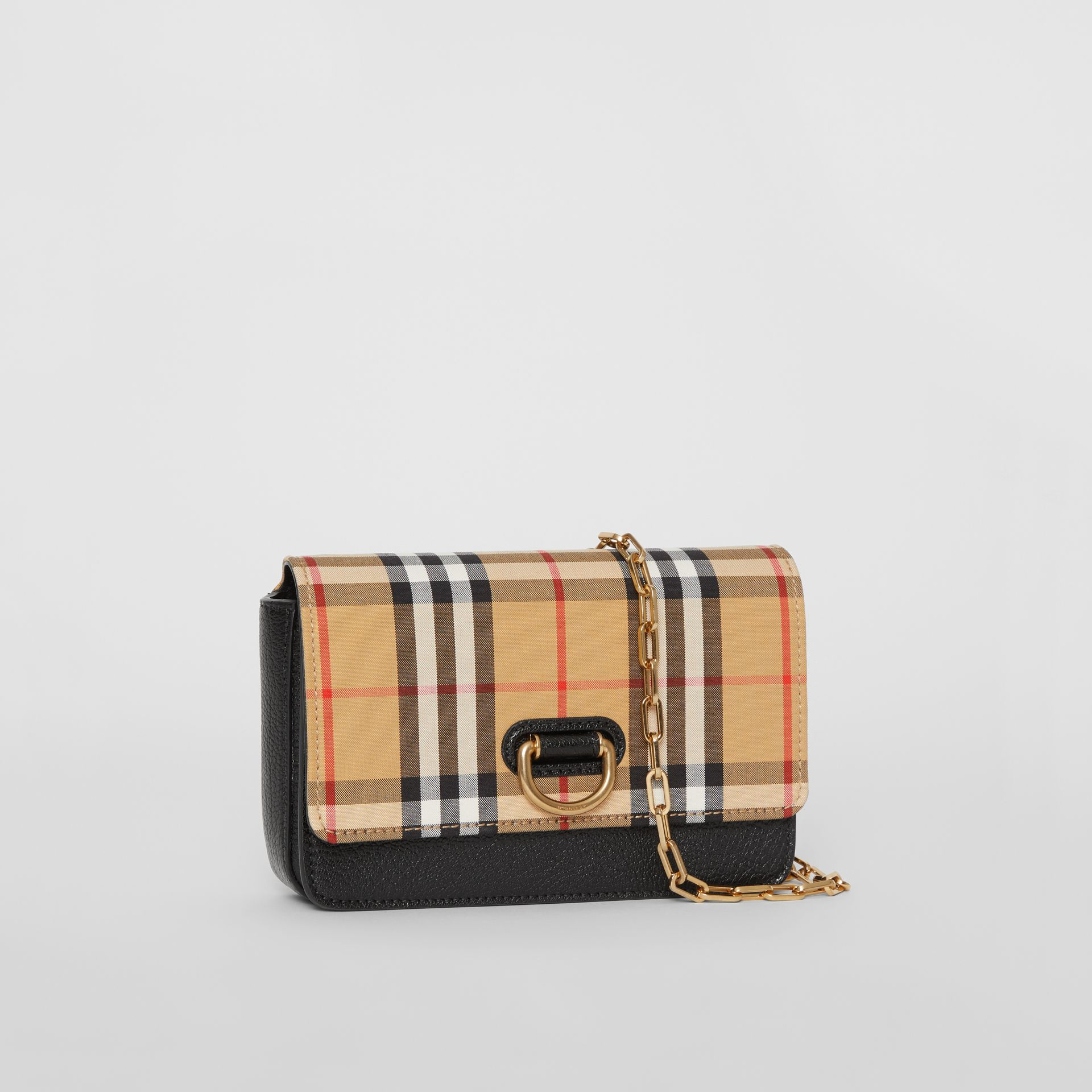 The Mini Vintage Check and Leather D-ring Bag in Black - Women | Burberry Australia - gallery image 6