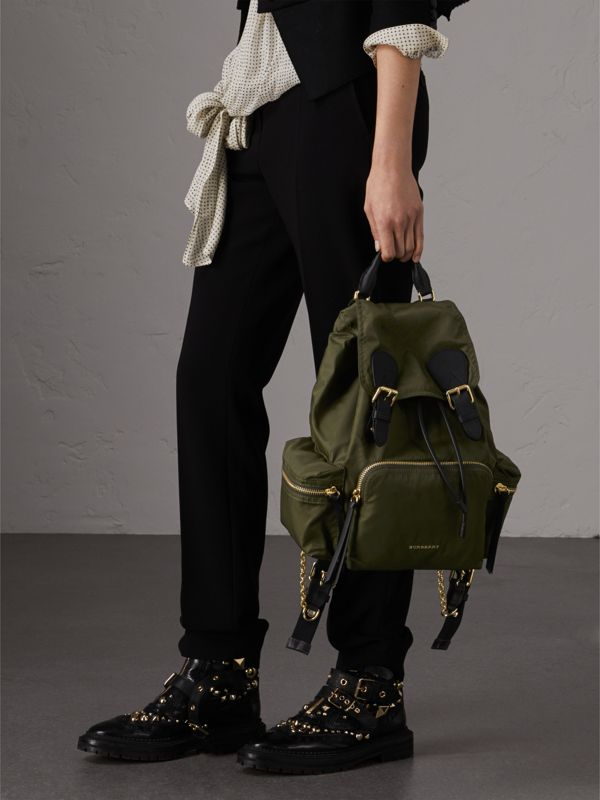 The Medium Rucksack in Technical Nylon and Leather in Canvas Green - Women | Burberry Hong Kong - cell image 2