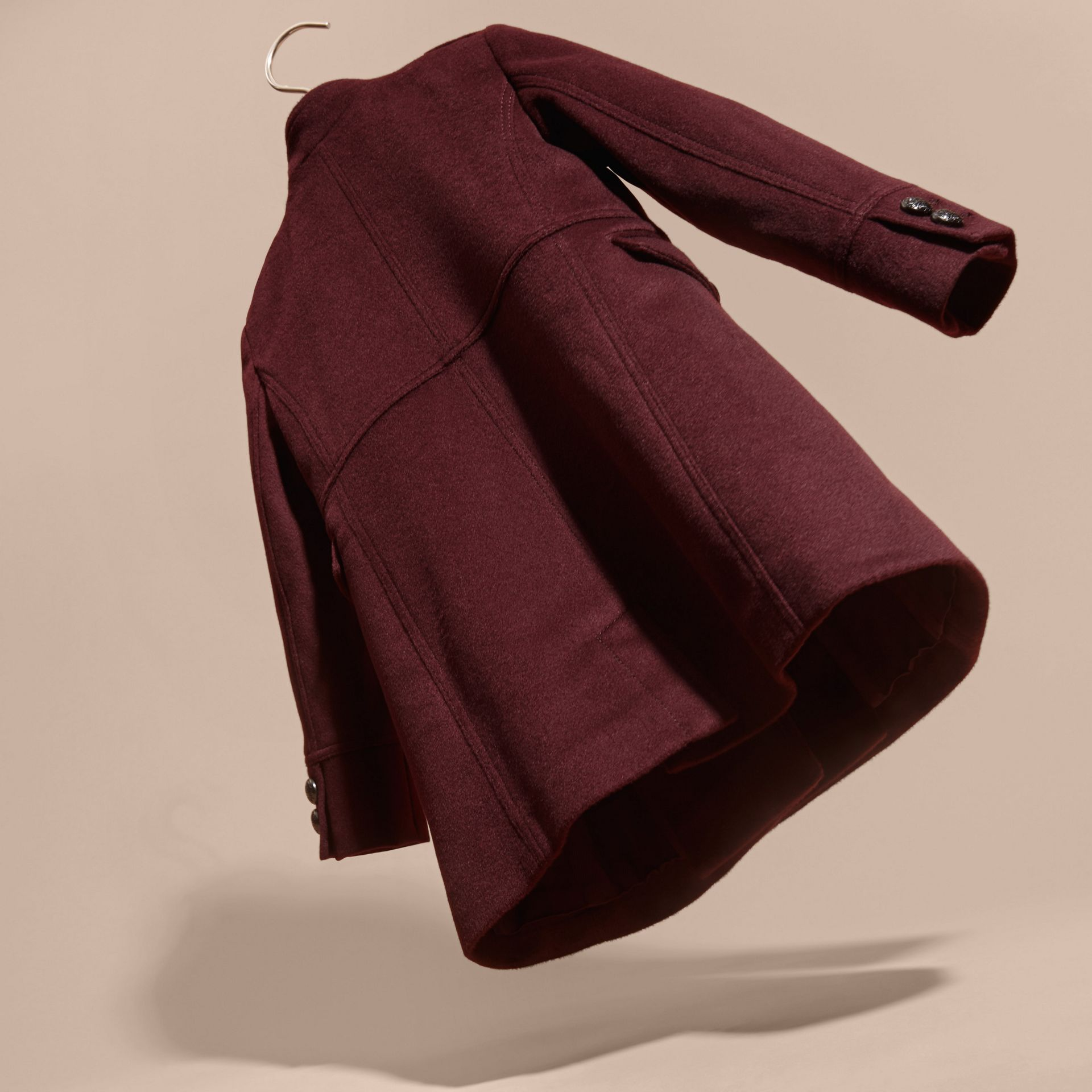 Deep plum Wool Cashmere Military Coat - gallery image 4