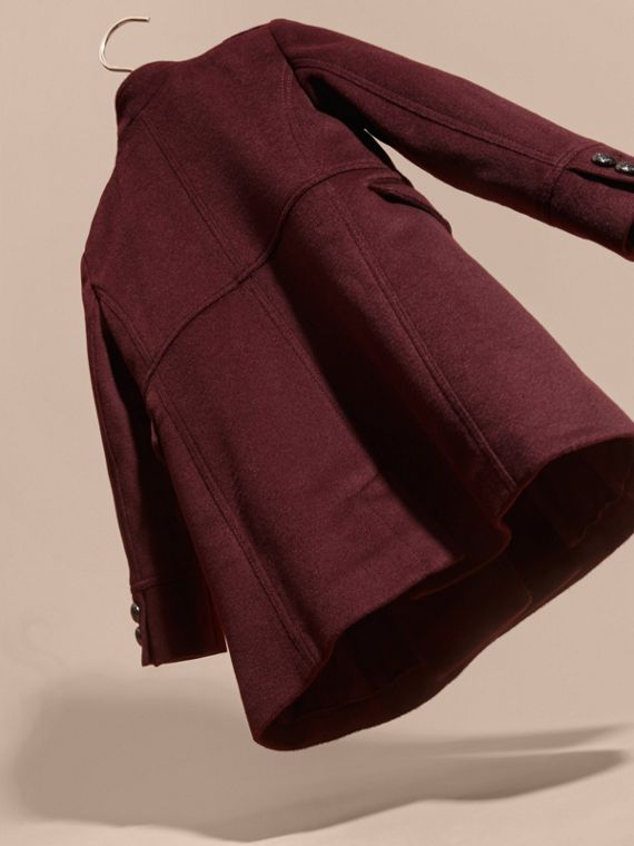 Deep plum Wool Cashmere Military Coat - cell image 3