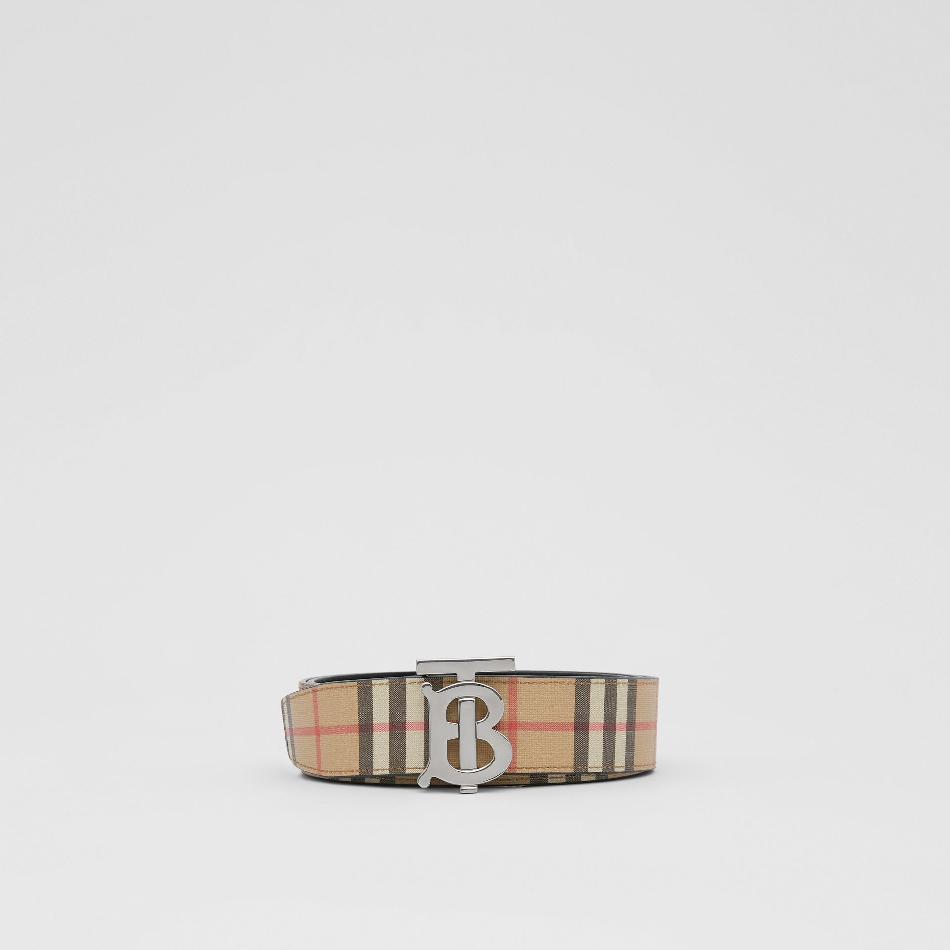 Reversible Monogram Motif Vintage Check Belt in Archive Beige - Men | Burberry United Kingdom - gallery image 2
