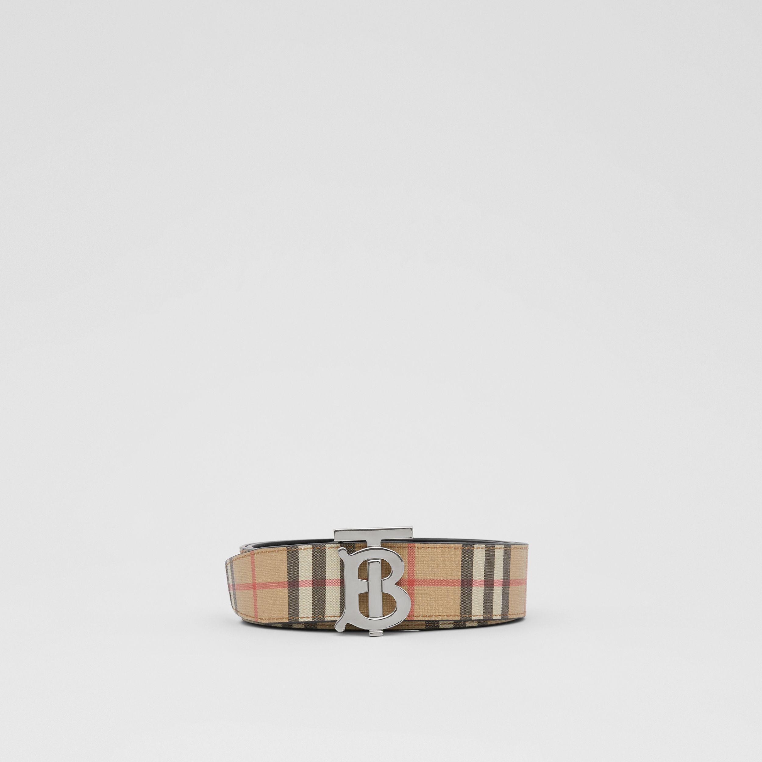 Reversible Monogram Motif Vintage Check Belt in Archive Beige - Men | Burberry - 4