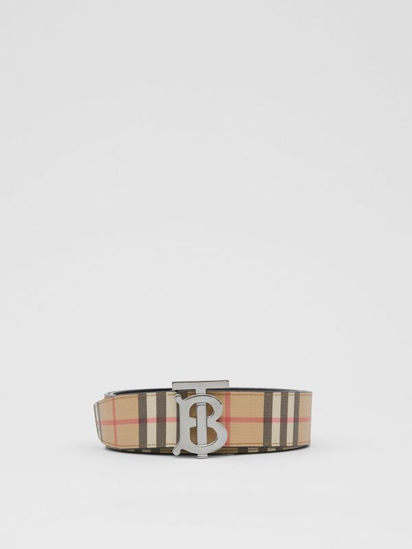 Reversible Monogram Motif Vintage Check Belt in Archive Beige - Men | Burberry - cell image 3