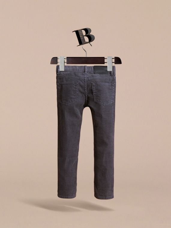 Skinny Fit Stretch Cord Trousers in Dark Grey - Boy | Burberry - cell image 3