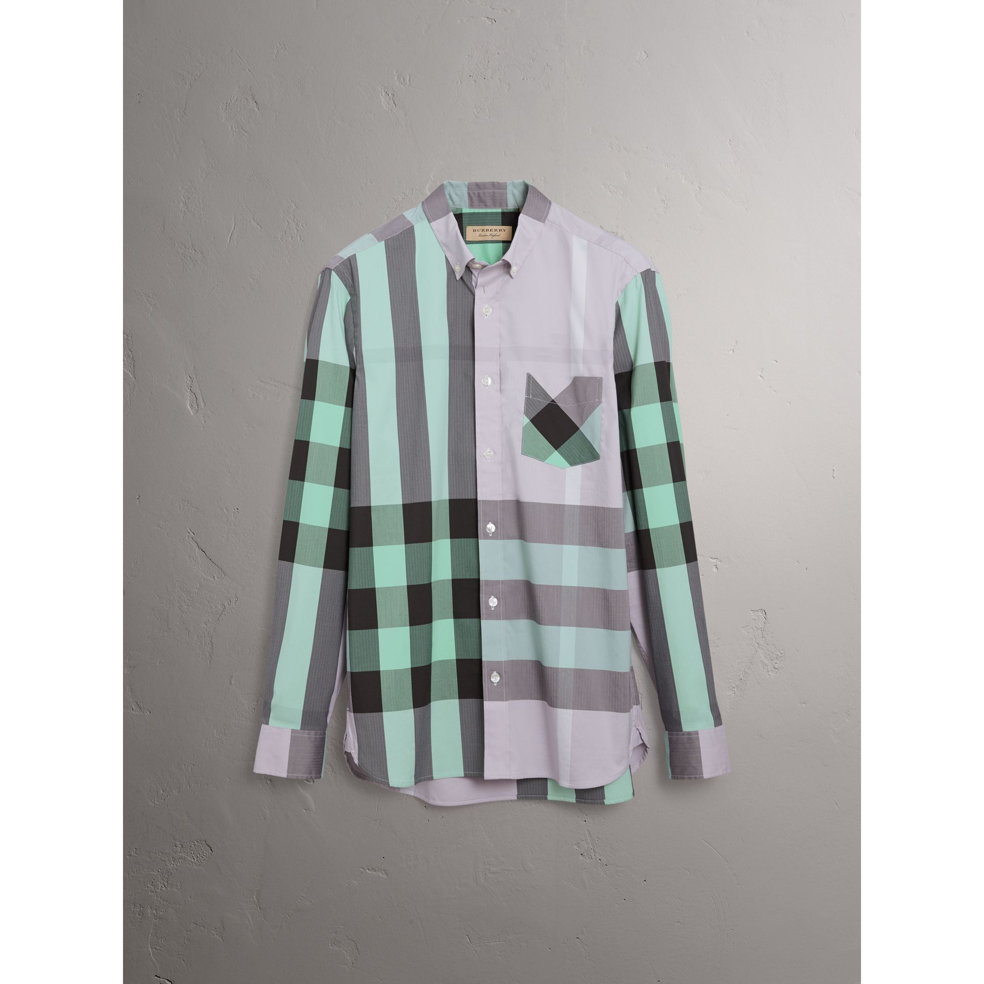 Button-down Collar Check Stretch Cotton Blend Shirt in Pale Lilac - Men | Burberry - gallery image 3