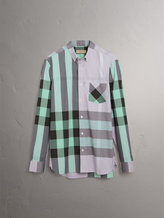 Button-down Collar Check Stretch Cotton Blend Shirt in Pale Lilac - Men | Burberry - cell image 3