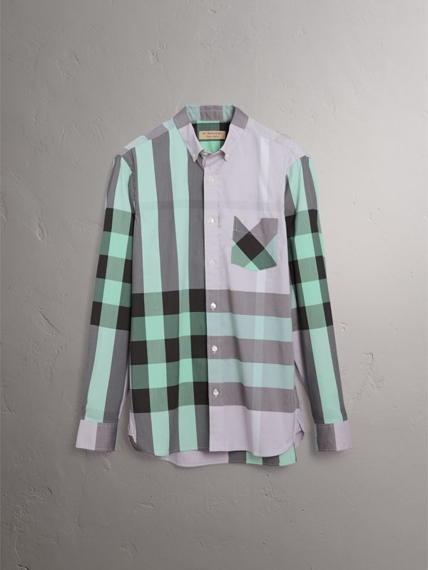 Button-down Collar Check Stretch Cotton Blend Shirt in Pale Lilac - Men | Burberry United Kingdom - cell image 3