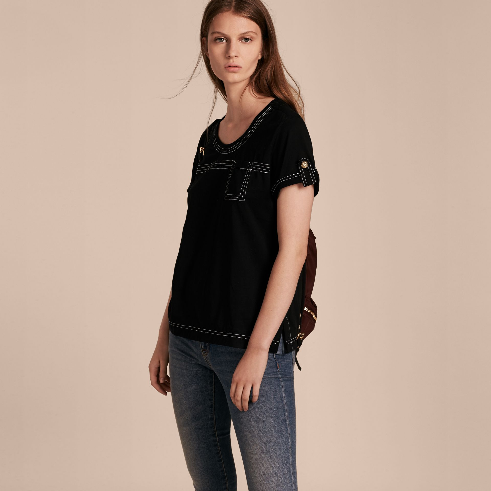 Black Topstitch Detail Cotton T-shirt Black - gallery image 6