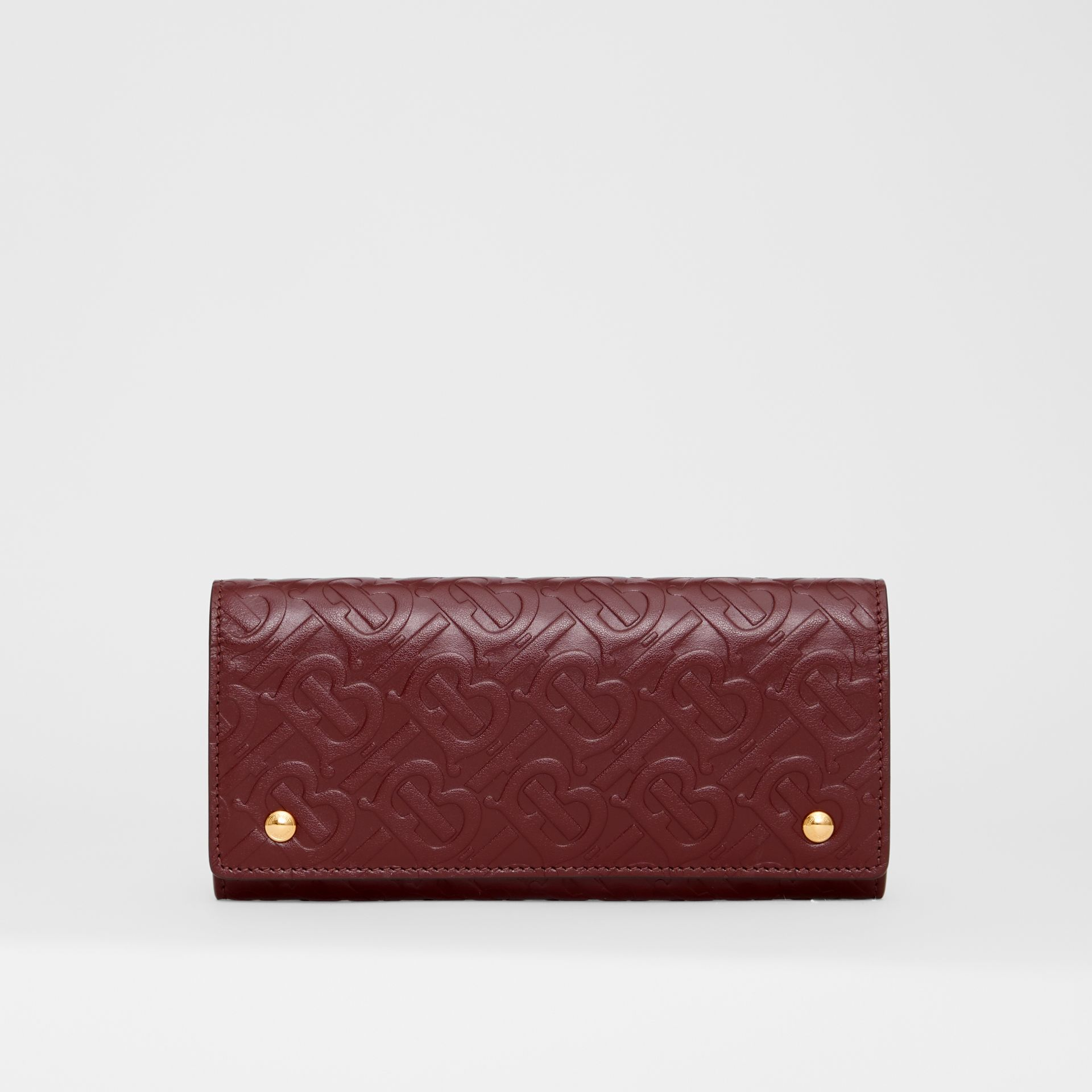 Monogram Leather Continental Wallet in Oxblood - Women | Burberry Canada - gallery image 0