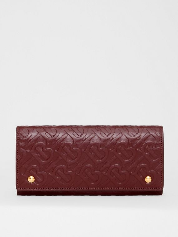 Monogram Leather Continental Wallet in Oxblood