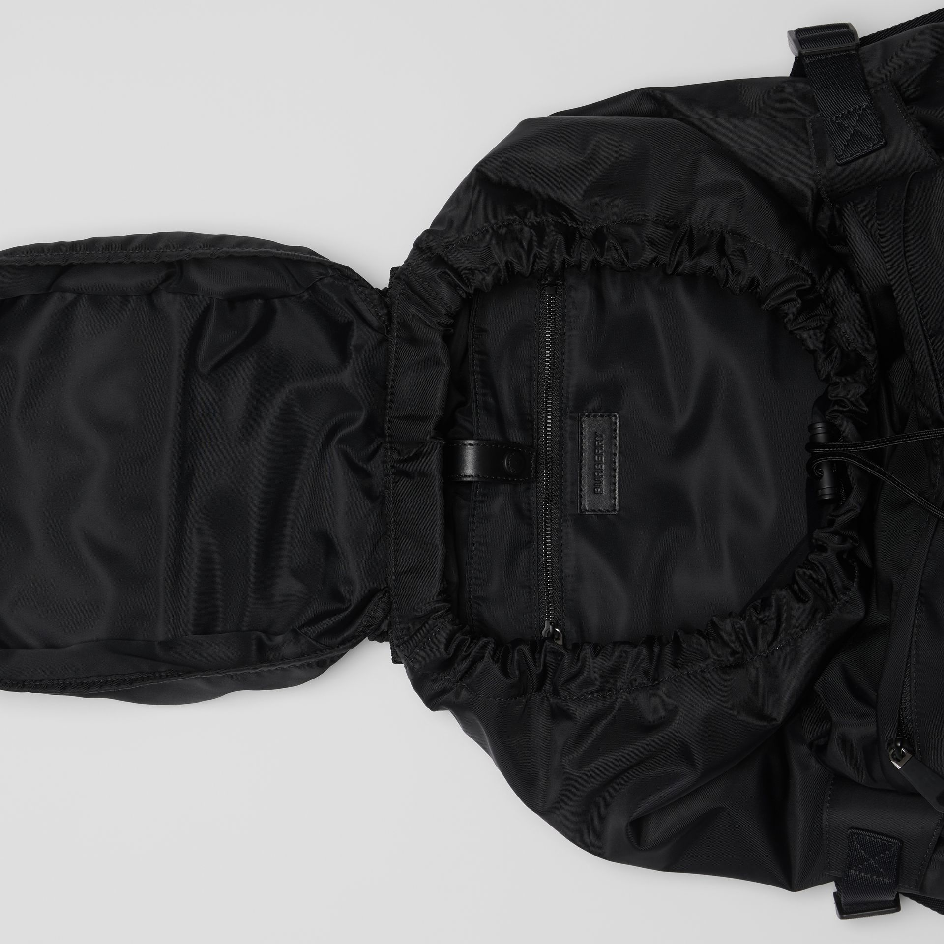 Logo Print Nylon Backpack in Black - Women | Burberry Australia - gallery image 3