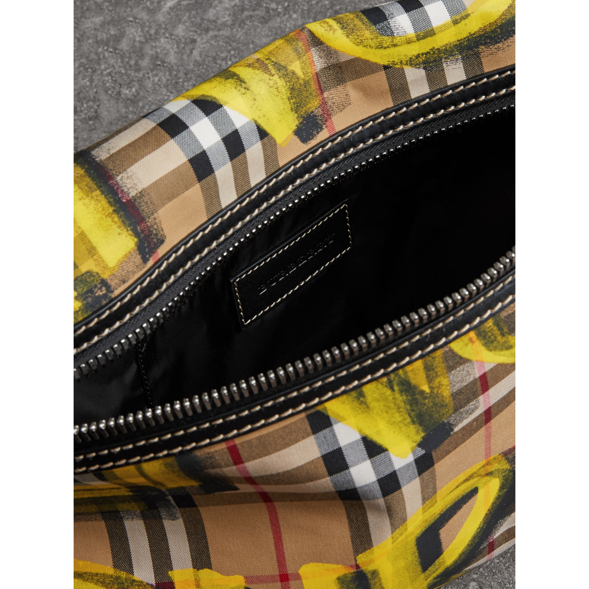 Large Graffiti Print Vintage Check and Leather Bum Bag in Bright Yellow/antique Yellow - Men | Burberry United States - gallery image 5