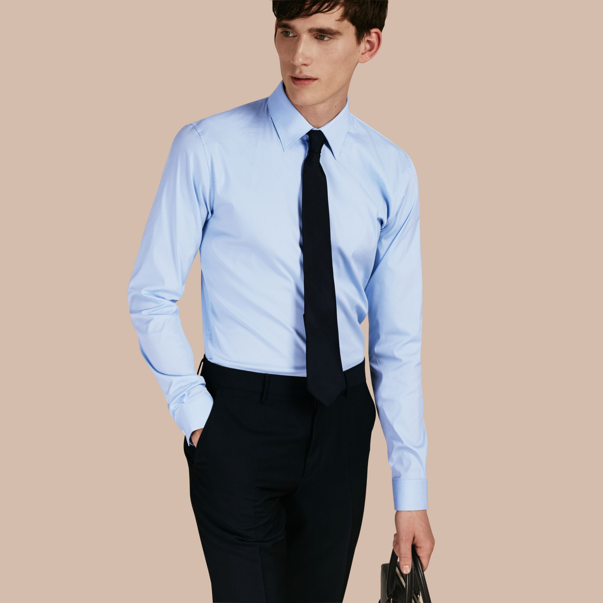 Slim Fit Stretch Cotton Shirt in City Blue - gallery image 1