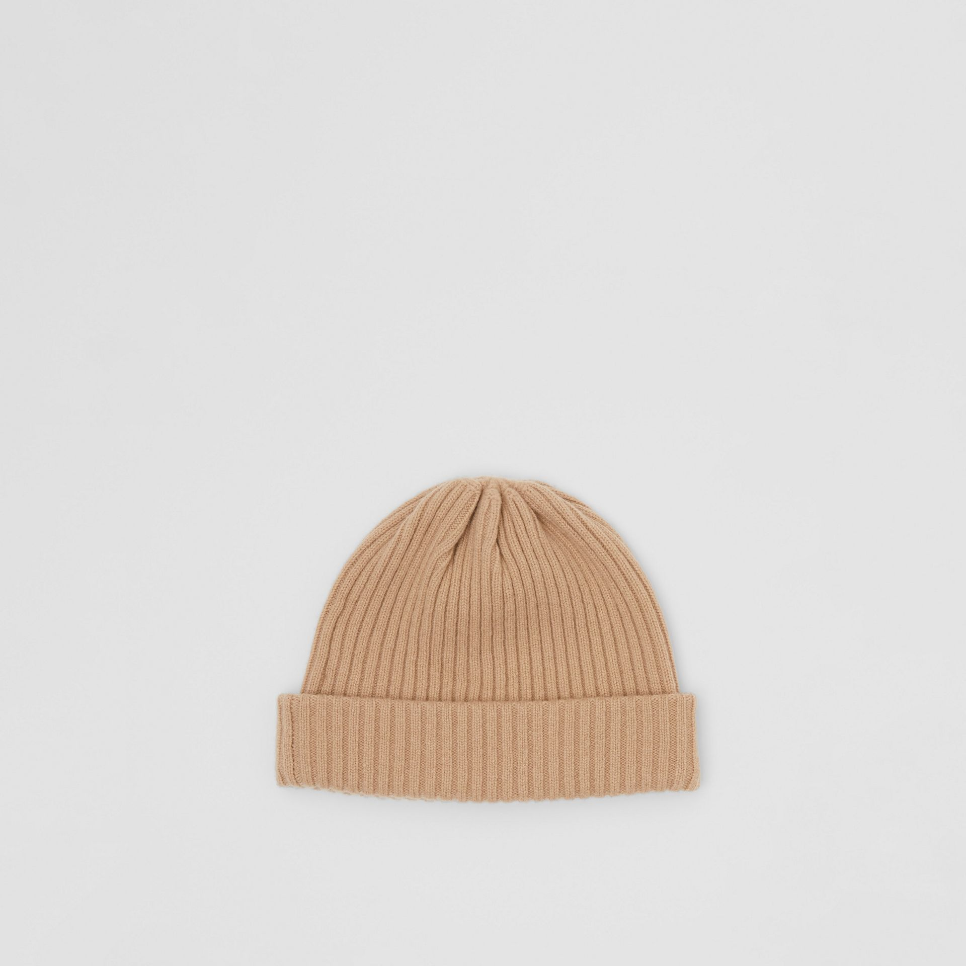 Logo Graphic Rib Knit Wool Beanie in Archive Beige | Burberry - gallery image 4