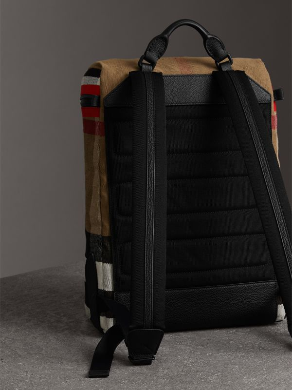 Zip-top Leather Trim Canvas Check Backpack in Military Red/camel - Men | Burberry United Kingdom - cell image 2