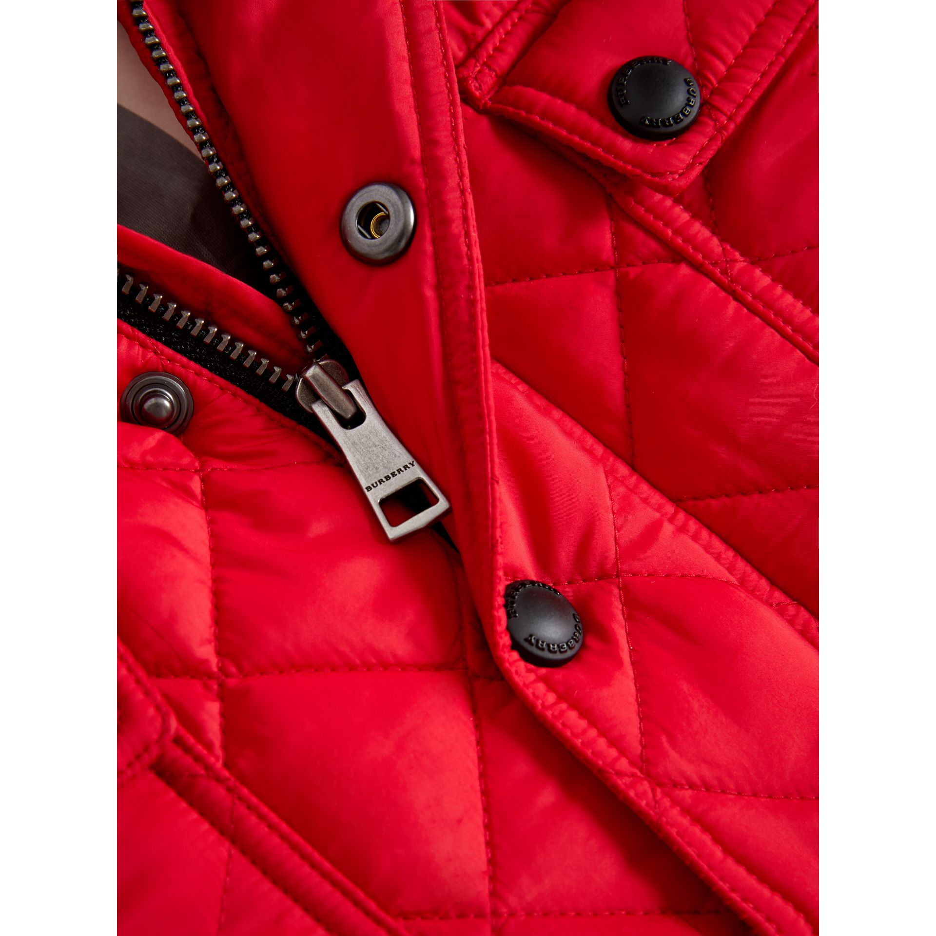 Check Detail Diamond-quilted Jacket in Bright Cherry Red | Burberry - gallery image 1