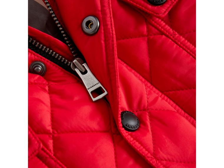 Check Detail Diamond-quilted Jacket in Bright Cherry Red | Burberry - cell image 1
