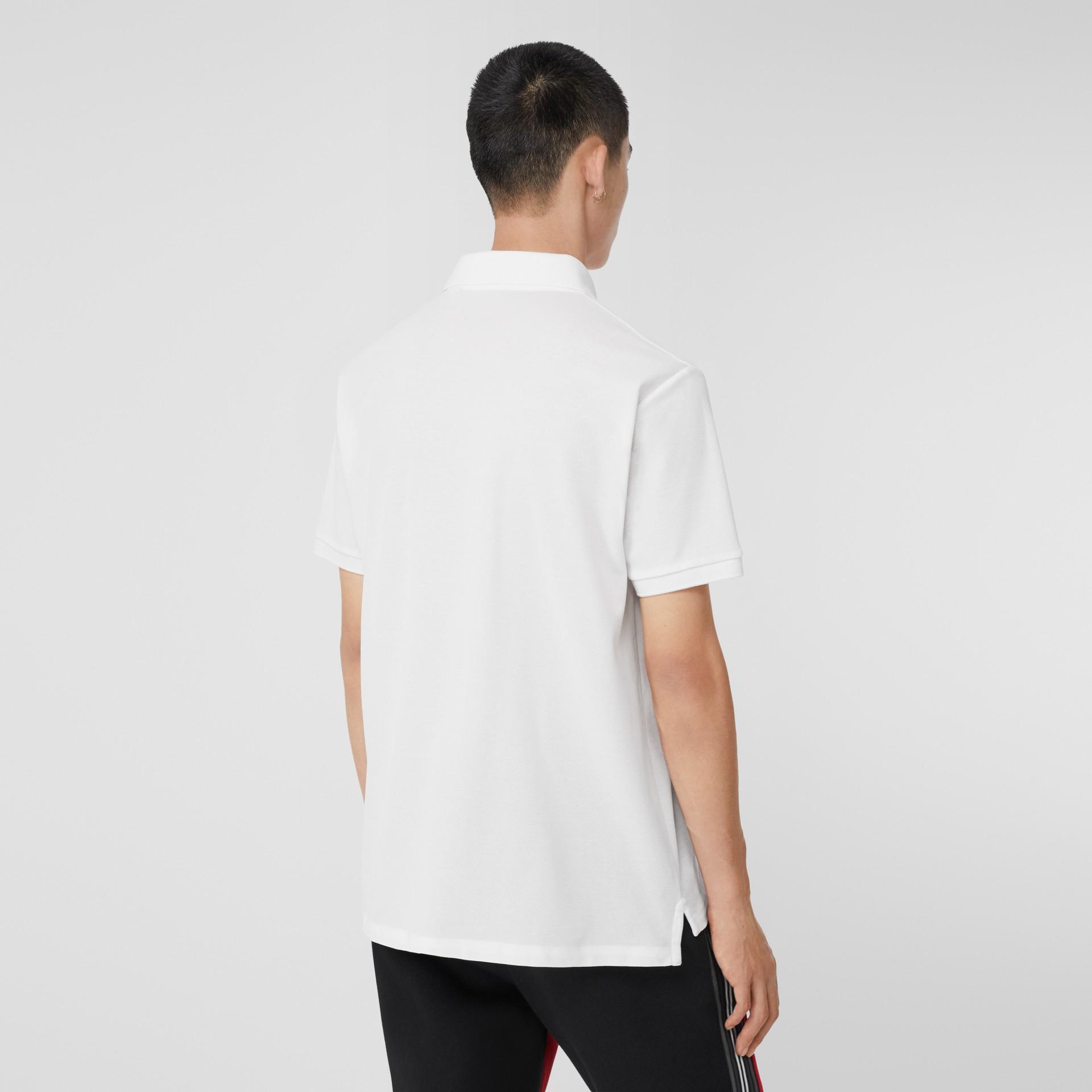 Monogram Motif Cotton Piqué Oversized Polo Shirt in White - Men | Burberry United Kingdom - gallery image 2