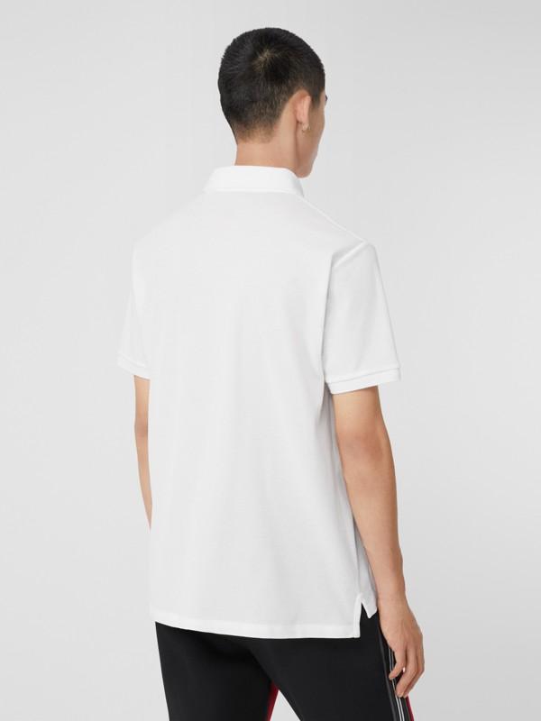 Monogram Motif Cotton Piqué Oversized Polo Shirt in White - Men | Burberry United Kingdom - cell image 2