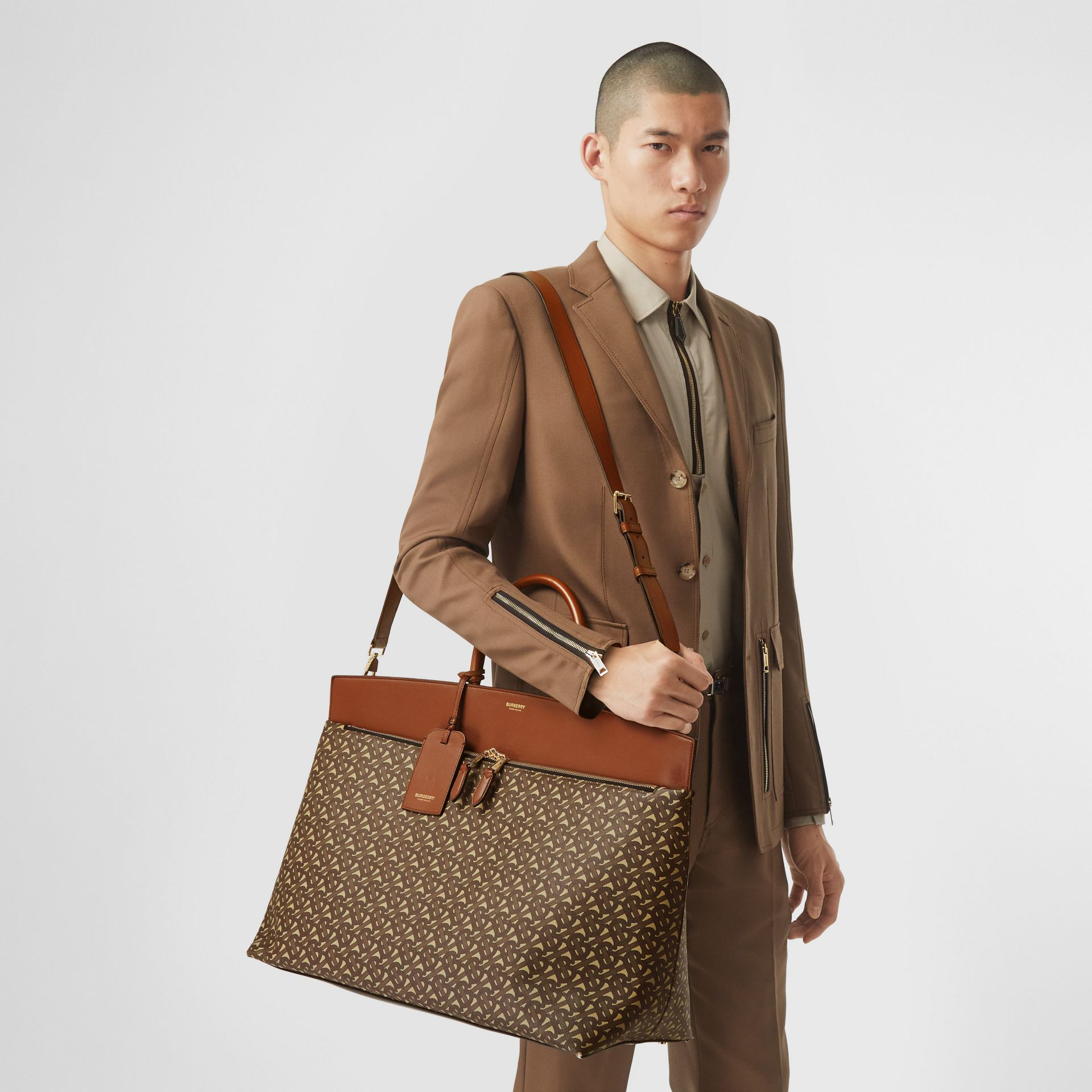 Extra Large Monogram E-canvas Society Top Handle Bag in Bridle Brown - Men | Burberry Hong Kong S.A.R - gallery image 2