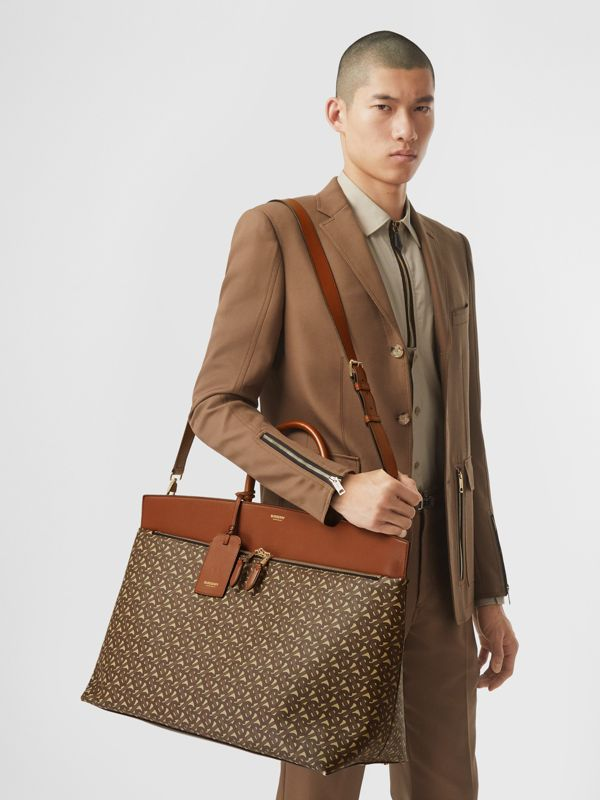 Extra Large Monogram E-canvas Society Top Handle Bag in Bridle Brown - Men | Burberry Hong Kong S.A.R - cell image 2